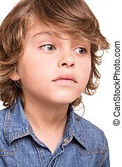 Kid thinking over white