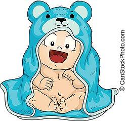 Kid Toddler Boy Bath Robe Illustration