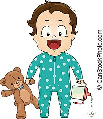 Kid Toddler Boy Bear Sippy Cup Illustration
