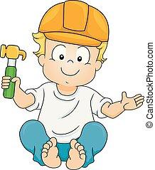 Kid Toddler Boy Construction Hammer Illustration