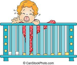 Kid Toddler Boy Crib Climb Cry Illustration