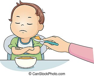 Kid Toddler Boy Dont Want To Eat Illustration