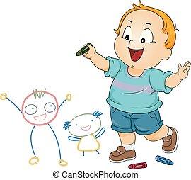 Kid Toddler Boy Doodle Friends Illustration