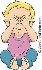 Kid Toddler Boy Peek Boo Illustration