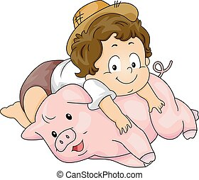 Kid Toddler Boy Pig - Illustration of a Baby Boy Lying on...