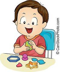 Kid Toddler Boy Play Clay Illustration