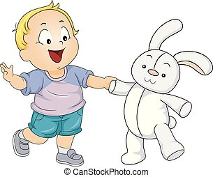 Kid Toddler Boy Play Toy Rabbit Illustration