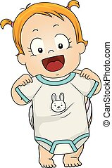 Kid Toddler Girl Pick Clothes Illustration