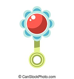 Kid toy children plaything infant rattle vector icon - Kid...