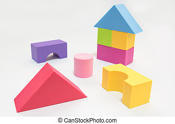 Kid toy geometry isolated on white background, kid or child development concept with clipping path