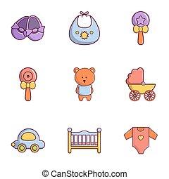 Kid toys icons set, flat style