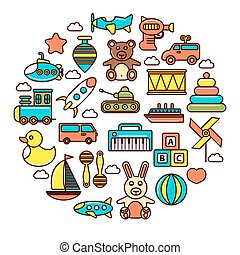 Kid toys or children playthings vector icons poster