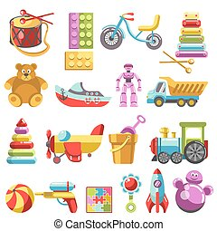 Kid toys or children playthings vector isolated icons