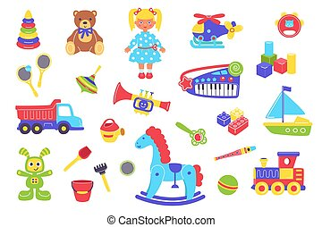 Kid toys vector illustration set, cartoon flat cute plastic toy for children play collection with preschool child funny objects
