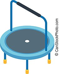 Kid trampoline icon, isometric style