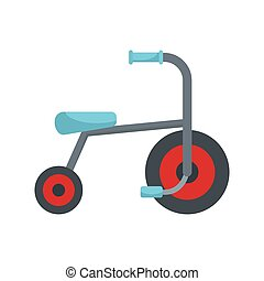 Kid tricycle icon, flat style