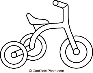 Kid tricycle icon, outline style - Kid tricycle icon....