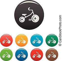 Kid tricycle icons set color - Kid tricycle icons set 9...