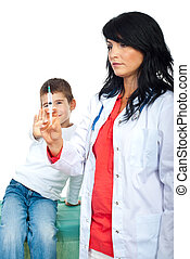Kid trying to stop doctor vaccine
