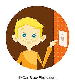 Kid turning off the light illustration