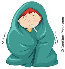 Kid under blanket having fever illustration