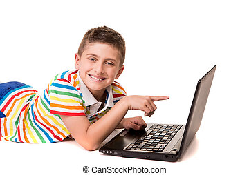 Kid using a computer