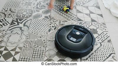 Kid vs. Robot Vacuum Cleaner - Robotic vacuum cleaner meets...