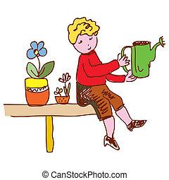 Kid watering flowers at home funny cartoon