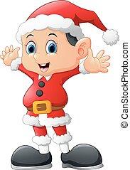 kid waving wearing santa costume