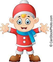 kid wearing santa costum
