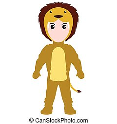 Kid with a lion costume. Halloween