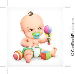 Kid with a rattle and pacifier