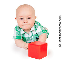 Kid with a red cube