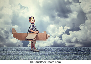 kid with airplane
