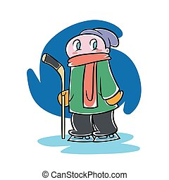 Kid with an ice hockey stick - Cute cartoon boy holding ice...
