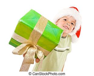 Kid with christmas gift