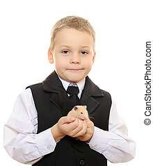 kid with hamster
