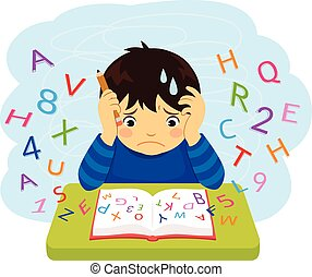 Confused kid looking at letters and numbers flying out of a book
