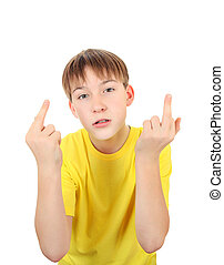 Kid with Middle Fingers Gesture