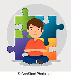 kid with puzzles to autism awareness day vector illustration