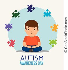 kid with puzzles to autism day campaign vector illustration