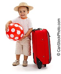 Kid with red ball and suitcase, ready for journey