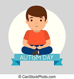 kid with ribbon to autism day champaign vector illustration
