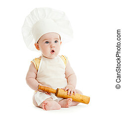 Kid with rolling pin and cook hat isolated