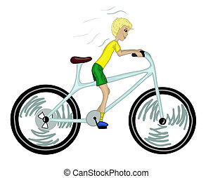 Kid with too big bicycle. Color version. Vector illustration...