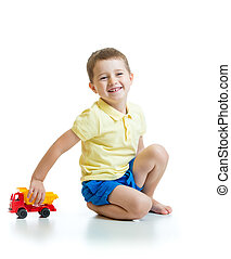 kid with toy isolated on a white background
