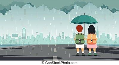 Kid with umbrella
