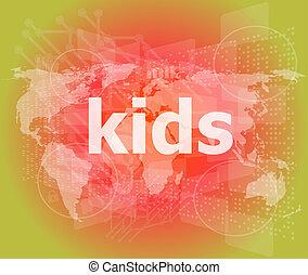 kid word on a virtual digital background, raster
