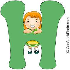 Illustration of a Little Girl Clinging on a Letter H