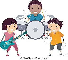 Illustration of a Little Kids Singing and Playing the Drums and Guitar